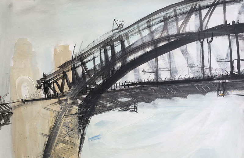 The-Bridge-People-in-the-middle-Triptych-(1st)-Plein-air-Ink,charcoal-and-acrylic-on-paper-85cm-x-110cm-David-K-Wiggs-2017-800x520