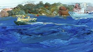 Cremorne and ferry passing Garden island-Plein air-Oil on oil paper-9 inch x 5 inch unframed-David K Wiggs-2016