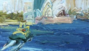 Cremorne to The Opera House-Plein air-Oil on oil paper-9 inch x 5 inch unframed-David K Wiggs-2016