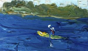 Yellow kayak from Kurraba Pt-Plein air-Oil on oil paper-922x 522 unframed-David K Wiggs-2016