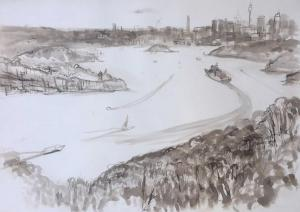 Into the harbour-Plein air-Ink,brush and bamboo on paper-76cm x 100cm unframed-David K Wiggs
