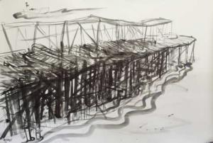 The Coal loader jetty and naval manoeuvres-Plein air-Ink,brush and bamboo on paper.100cm x 150cm-David K Wiggs 2013