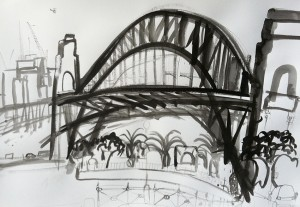 Under-The-Bridge-Plein-air-Inkbrush-and-bamboo-on-paper-75cm-x-100cm-David-K-Wiggs