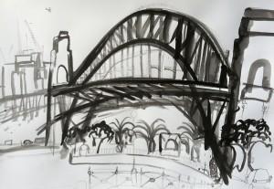 Under-The-Bridge-Plein-air-Inkbrush-and-bamboo-on-paper-75cm-x-100cm-David-K-Wiggs