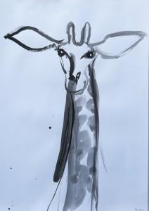 Zoo-drawings-Giraffe-Inkbrush-and-bamboo-100cm-x-70cm-David-K-Wiggs