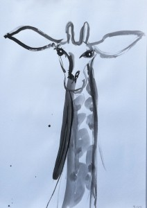 Zoo-drawings-Giraffe-Inkbrush-and-bamboo-100cm-x-70cm-David-K-Wiggs