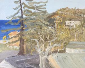 From Palm beach road-Palm beach=Plein air-Oil on oil paper-75cm x 85cm framed-David K Wiggs 2017