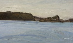 Lion Island-Ferry to Palmy-Plein air-Oil on canvas-90cm x 150cm-David K Wiggs