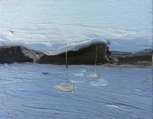 Lion Island-From Snappermans beach-Plein air-Oil on canvas-20cm x 25cm-David K Wiggs