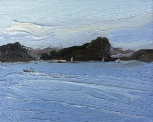 Lion Island-From Snappermans beach 2-Oil on canvas-20cm x 25cm-David K Wiggs