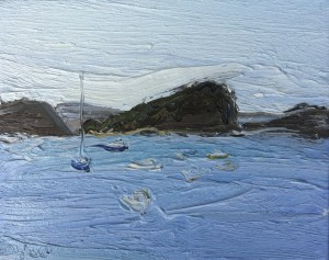 Lion Island and Ferry-From Snappermans beach-Plein air-Oil on canvas-20cm x 25cm-David K Wiggs