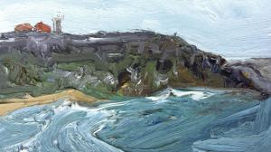 Palm beach-Barrenjoey headland-Plein air-Oil on oil paper-922x 522 unframed-David K Wiggs-2016