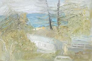 Palm beach-Through the pines and the palms-Plein air-Oil on canvas-100cm x 150cm-David K Wiggs-2017