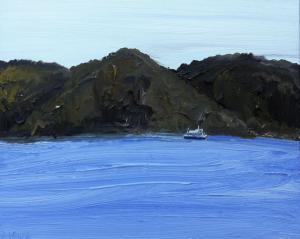 Palm beach ferry-Pittwater-Plein air-Oil on canvas-40cm x 50cm-David K Wiggs