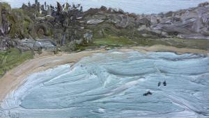Palm beach in the rain-Plein air-Oil on oil paper-922x 522 unframed-David K Wiggs-2016