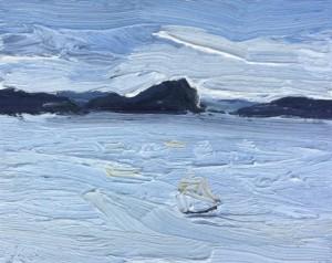 Pittwater-Lion Island-Plein air-Oil on canvas-20cm x 25cm-David K Wiggs
