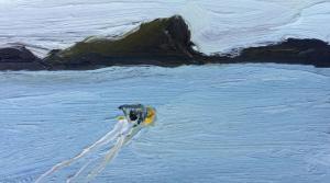 Pittwater-Lion island-Plein air-Oil on oil paper-9 inch x 5 inch unframed-David K Wiggs-2016
