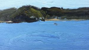 Pittwater-Mackeral beach-Plein air-Oil on oil paper-9 inch x 5 inch unframed-David K Wiggs-2016