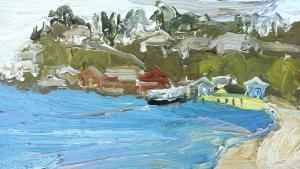 Pittwater-Palm beach wharf-Plein air-Oil on oil paper-9 inch x 5 inch unframed-David K Wiggs-2016