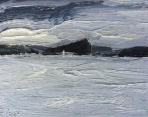 Pittwater weather-Plein air-Oil on canvas-20cm x 25cm-David K Wiggs