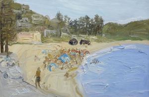 Walking the dog-Palm beach-Plein air-Oil on canvas-100cm x 150cm-David K Wiggs