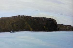 West Head watches the Palm beach ferry-Plein air-Oil on canvas-100cm x 150cm-David K Wiggs-2016