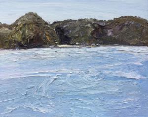 White light and wind-Mackeral beach-Pittwater-Plein air-Oil on canvas-61cm x 76cm-David K Wiggs-2017