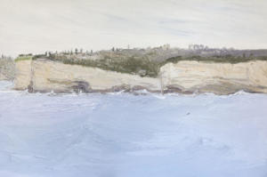 Big-cliffs-Small-boat-The-church-at-The-Gap-Plein-air-Oil-on-canvas-100cm-x-150cm-David-K-Wiggs-2018