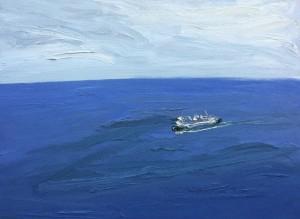 Making the crossing-Plein air-Oil on canvas-120cm x 165cm-David K Wiggs