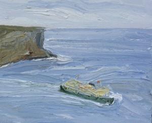 Manly-ferry-North-head-Oil-on-canvas-50cm-x-60cm-David-K-Wiggs