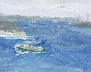 Manly ferry turning to ride the swell-South head-Plein air-Oil on oil paper-75cm x 85cm-David K Wiggs 2017