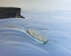 Morning-Manly-ferry-Headland-park-122cm-x-152cm-Oil-on-canvas-David-K-Wiggs