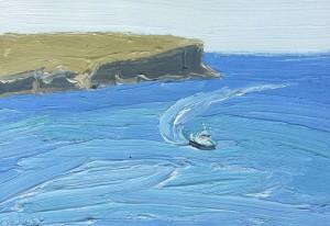North-head-Gov.-boat-Oil-on-oil-paper-18cm-x-25cm-David-K-Wiggs