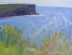 North head from Georges Heights-Oil on oil paper-30cm by 39cm