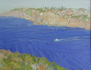 North head looking south-Oil on oil paper-30cm by 39cm
