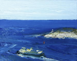 Passing South head-Plein air-Oil on canvas-20cm x 25cm-David K Wiggs