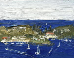Passing Watsons bay-Plein air-3rd of triptych-Oil on canvas-20cm x 25cm-David K Wiggs