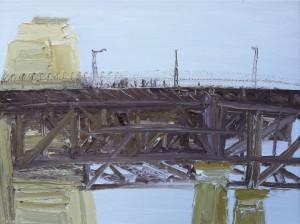 People through the mesh-The Bridge-Plein air-Oil on canvas-76cm x 100cm-David K Wiggs-2016