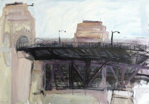 The Bridge-Southern entrance-Plein air-Acrylic and charcoal on paper-76cm x 100cm-David K Wiggs