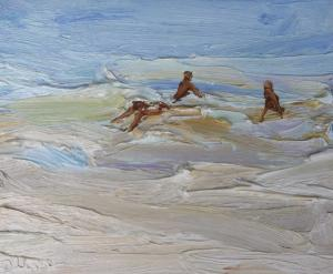 Body surfing-Dee Why-Plein air-Oil on canvas-25cm x 30cm-David K Wiggs