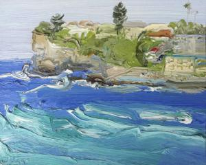 Dee Why Headland-Plein air-Oil on oil paper-45cm x 55cm Framed-David K Wiggs