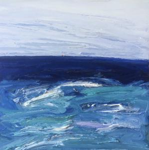 Paddling out through the rip-Dee Why-Plein air-Oil on canvas-122cm x 122cm-David K Wiggs