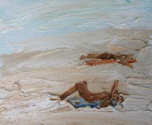 Sunbaking-Dee Why-Plein air-Oil on canvas-25cm x 30cm-David K Wiggs