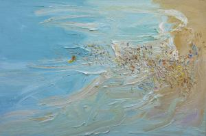The-crowd-and-the-shepherds-Freshwater-Plein-air-Oil-on-canvas-100cm-x-150cm-David-K-Wiggs 1