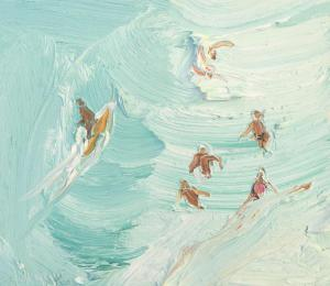Yellow surfboard and body bashers-Freshwater-Plein air-Oil on oil paper-50cm x55cm framed-David K Wiggs 2018