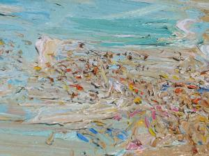 Crowd and surf-Plein air-Oil on canvas-100cm x 150cm-David K Wiggs