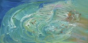 Freshwater Rip-Oil on canvas-76cm x 150cn-David K Wiggs