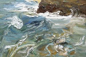 Qeenscliff headland-two surfers and the March swell-Plein air-Oil on canvas-100cm x 150cm-David K Wiggs-2017