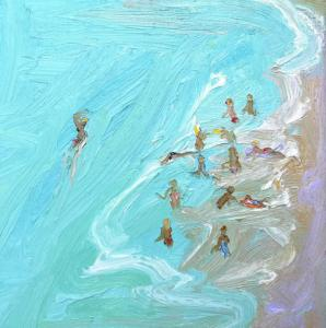 The swimmer-Freshwater-Plein air-Oil on canvas-30cm x 30cm-David K Wiggs 2011