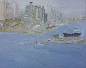 Building the playground-Plein air-Oil on canvas-122cm x 152cm-David K Wiggs